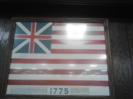 Note the implementation of the flag of the British Empire into the American Flag of 1775.