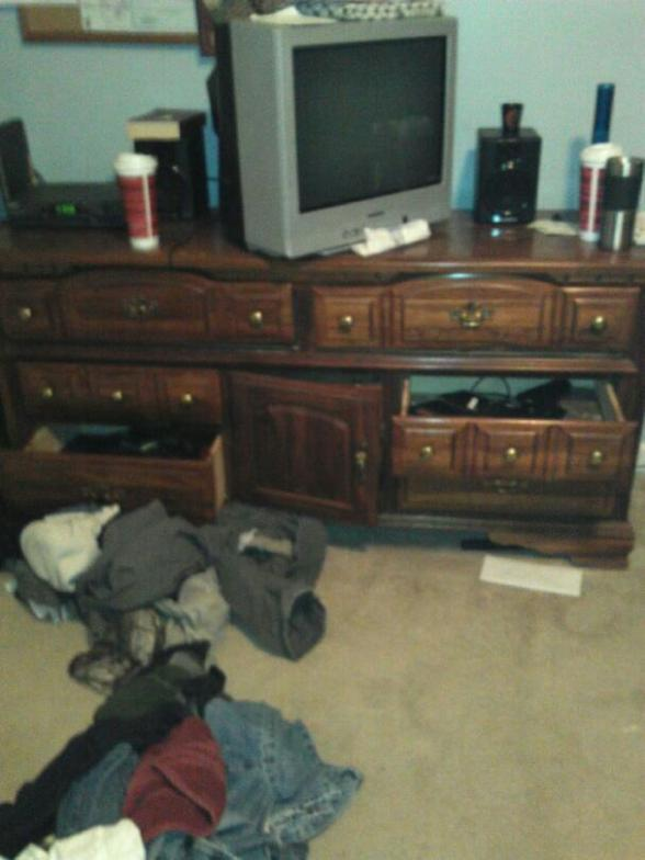 Bedroom which was ransacked during raid. (PICTURE MAY NOT BE REPRODUCED WITHOUT PERMISSION BY TIM MANNING SR. WHO RETAINS ALL RIGHTS TO PHOTO