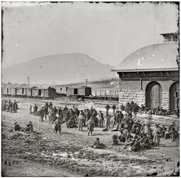 From the Sons of Confederate Veterans Official Facebook page. 1864 photo of Confederate Prisoners of War awaiting transportation at Chattanooga, Tn.